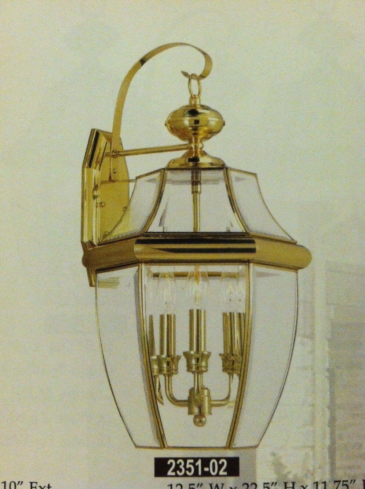 Large Gold Brass Brass Brass Outdoor House Light Porch Deck Lamp Lantern Fixture 3x60 W. e4524e