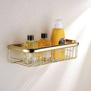 Gold-Brass-Bathroom-Shower-Soap-Tray-Corner-Shelf-Wall-Mount-Storage-Basket-Rack