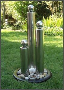Brunnen Edelstahl.Details Zu 65 Cm Edelstahl Brunnen Springbrunnen Matt Gebürstet 3 Säulen Kugeln Led Licht