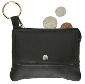 Black-Leather-Men-039-s-Coin-Purse-Change-Key-Chain-Ring-Holder-Front-Pocket