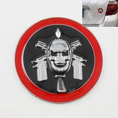 3D Metal Demon Skull Gun Car Truck Sticker Decal Devil Emblem Badge Round Black