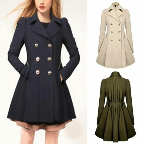 Damen Lapel Winter Warm Lang Parka mit Knöpfe Jacke Outwear Mantel Coat