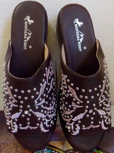 Montana West Wedge Slip On Peep Toe Flip Flops Boot Scroll Embroidered Coffee