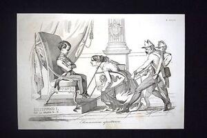 Incisione-d-039-allegoria-e-satira-Italia-del-Nord-omaggio-Austria-Don-Pirlone-1851