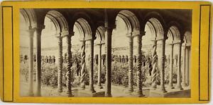 Stéréo, Italie, Rome, cloître San Paolo Vintage stereo card,  Tirage albuminé