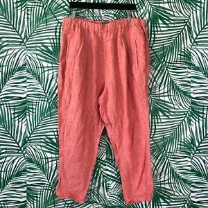 By-Anthropologie-Coral-White-Striped-Linen-Pants-Women-s-Size-XL
