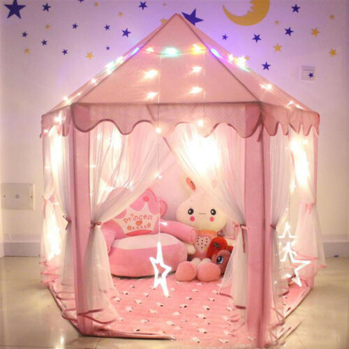 Kids-Play-Tent-House-Girls-Boys-Hexagon-Children-Indoor-Playhouse-w-Light-String