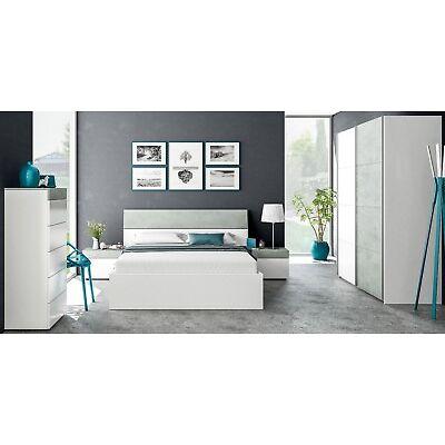 Armario dos puertas correderas 150x200, Ropero dormitorio, Blanco y Gris Cemento