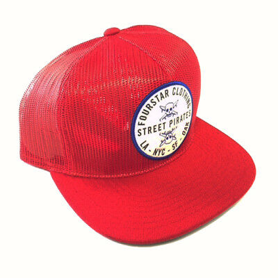 Fourstar Skateboards Clothing All Mesh Circle Patch sample snapback cap hat  Red cdda6f96c4b3