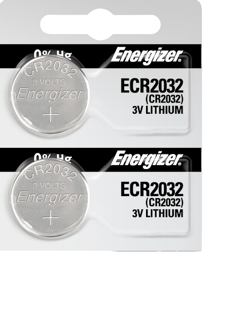 Energizer ECR2032 Lithium (LiMNO2) Coin Cell Batteries 2 Pack Tear Strip