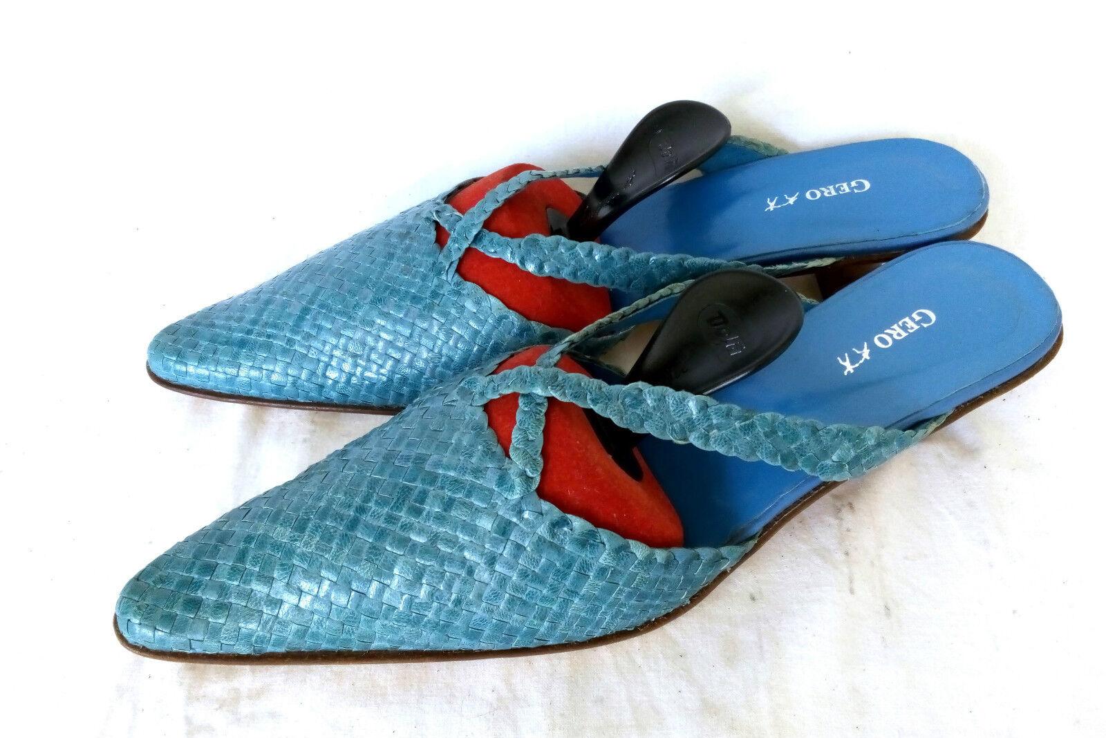 Gero Geflochtene Leder Sommer Pantoletten Damenschuhe Blau Gr. 39 39,5 NEUWERTIG