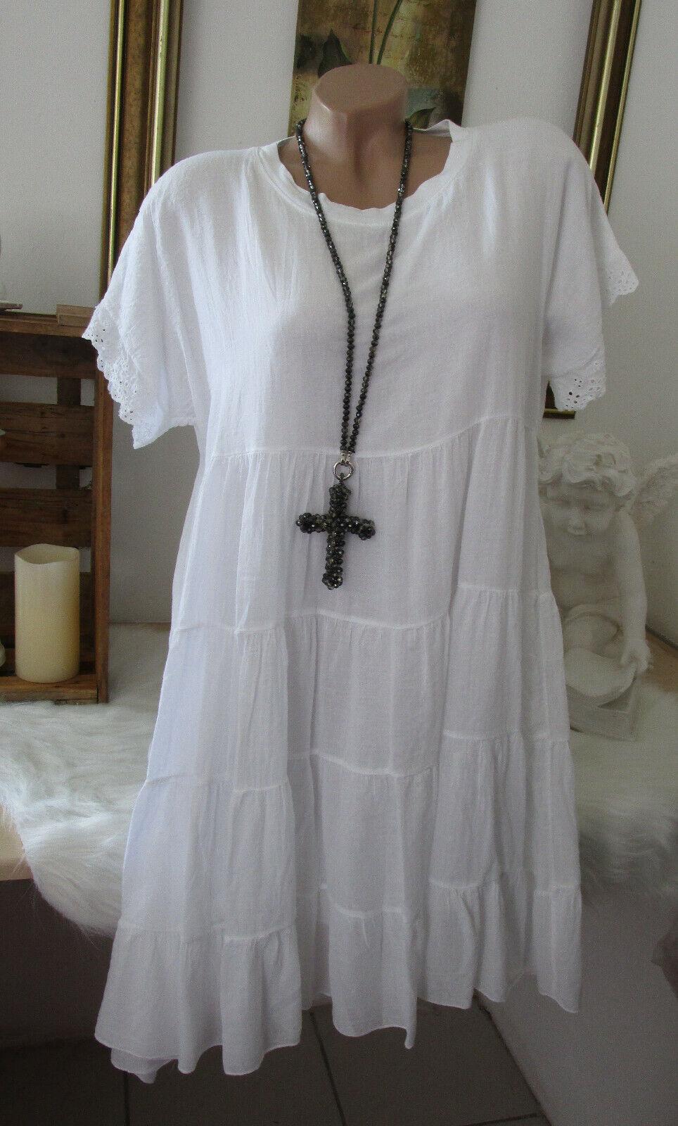 Neu Italy Sommer Oversize Shirtkleid Kleid Baumwolle Blogger Weiß 38 40 42