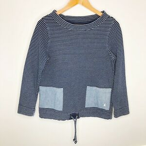 Joules Nautical Blue Striped Boatneck Pullover Sweatshirt Size 4