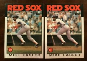1986-Topps-477-MIKE-EASLER-Lot-2-Boston-Red-Sox-Baseball-Card-SWEET-LOOK