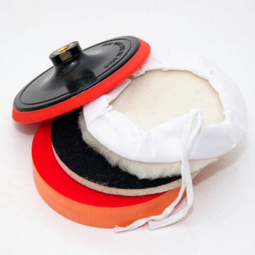 Polieraufsatz für Winkelschleifer Ø 150 mm Stützteller Wollhaube Filz Schwamm