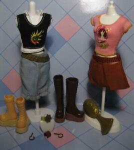 My Scene Barbie Doll Tag Shirt 2 Outfits Clothing Boots Jewelry Graphic T Shirts Ebay