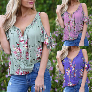 Womens-V-Neck-Cold-Shoulder-T-Shirt-Tops-Floral-Loose-Casual-Summer-Tee-Blouse