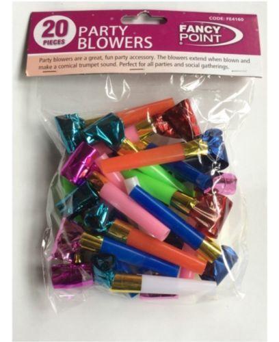 20pcs Noise Maker Blowout Party Jazzy Whistle Blow Out Wedding Favour Bag Filler