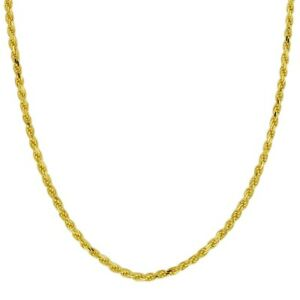 Chain-Gold-Rope-Yellow-Necklace-10k-Solid-Gold-Diamond-Cut-Pendant-Women-Men-1mm