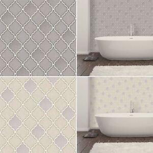 Retro Geometric Trellis Tile Wallpaper Embossed Vinyl Kitchen