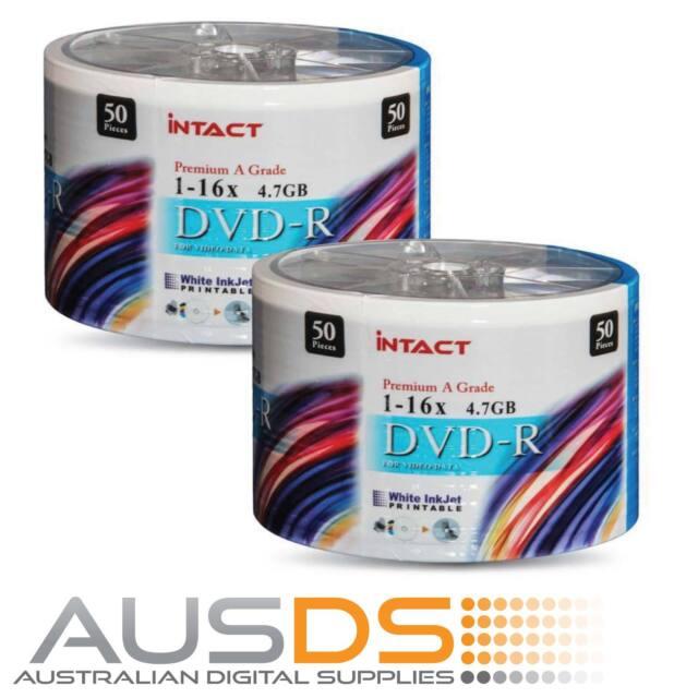 100 X Intact DVD blank disc media - Printable DVD-R discs matt - 16X burn -50pk