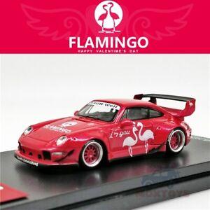 Modello-di-tempo-1-64-Rauh-Welt-begriff-RWB-PORSCHE-993-Flamingo-Rosso-auto-modello-Diecast