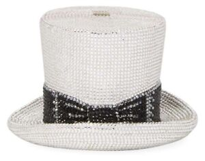 Image is loading Judith-Leiber-Top-Hat-Rhine-Black-Silver-Minaudiere- 808f43c01a7