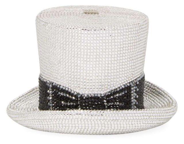 226d54434 Judith Leiber Top Hat Rhine Black Silver Minaudière Evening Bag Designer NEW