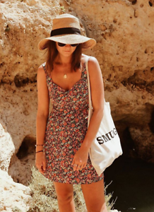Topshop-Ditsy-Floral-Print-Dress-Sundress-Orange-UK-6-8-14-16-BNWT