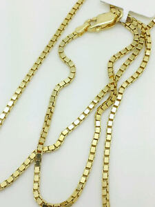 14K-Solid-Yellow-Gold-Box-Necklace-Gold-Chain-16-034-18-034-20-034-22-034-24-034-26-034-30-034