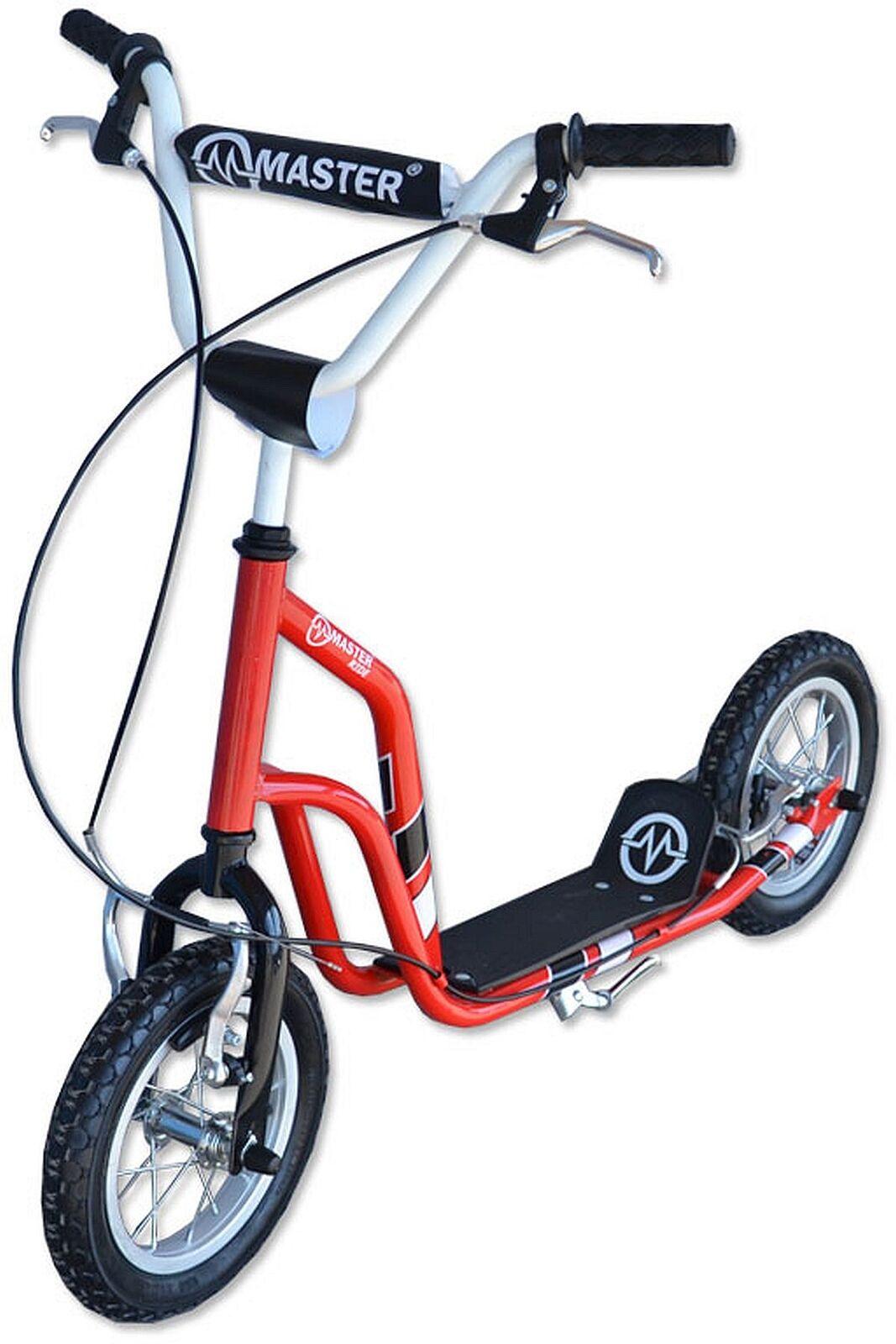 Tretroller Kinderroller Master Ride 12 Zoll Scooter rot-schwarz B-Ware
