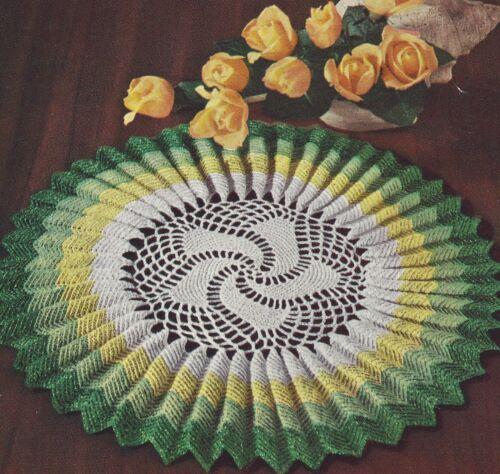 Vintage Crochet Pattern To Make Sunburst Pleated Ruffled Doily Mat