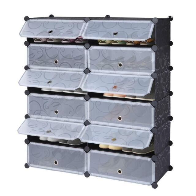 Shoe Rack 16 Cube Modular Storage Space Saving Plastic Shoe Organizer White For Sale Online Ebay