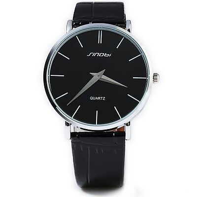 Sinobi Super Slim Male Japan Quartz Watch Leather Wristband Analog Dials IUS