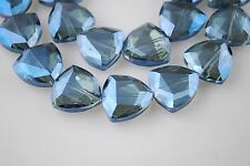8Pcs Glass Crystal Faceted Triangle Beads 18mm Spacer Makings Blue Transparent
