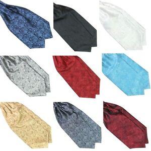 Mens Ascot Tie Cravat Neck Tie Printed Satin Scarf Self Tie Wedding Pocket Scarf