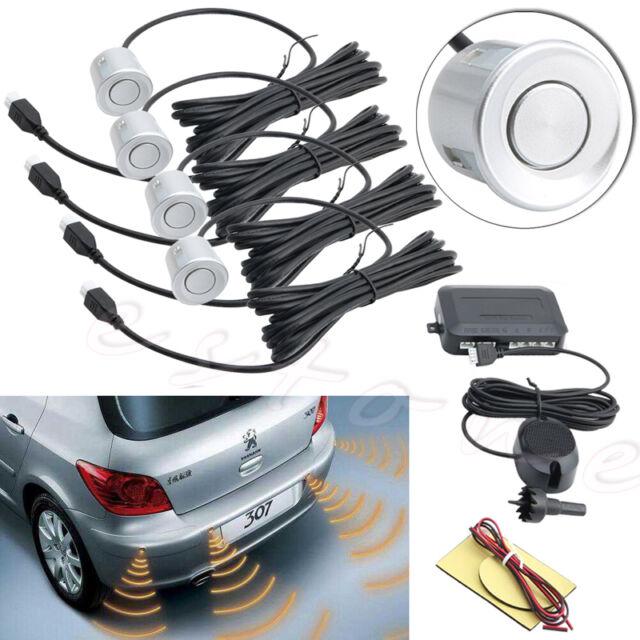 8 Sensors Buzzer Radar Car Vehicle Parking Rear Reverse LED Display Alarm White