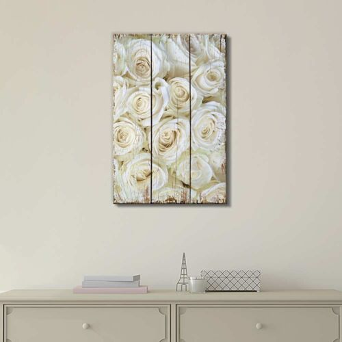 Field of Delicate White Roses Over Scratched Wooden Panels Canvas 12x18