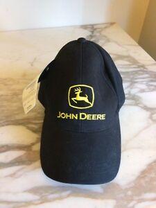 JOHN-DEERE-BLACK-LOGO-Twill-CAP-HAT-New-Adjustable-back