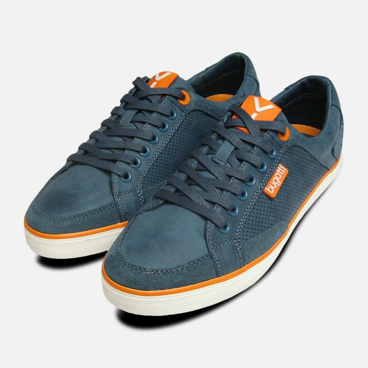 Mens Navy bluee Leather Designer Trainers by Bugatti Sneakers