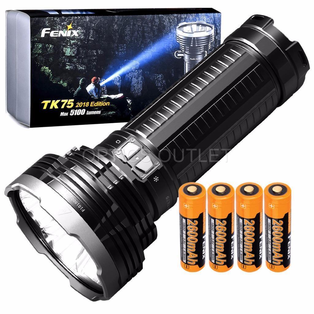Fenix TK75 2018 5100 Lumen Flashlight w  4x 2600mAh 18650 Rechargeable Batteries