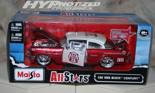 MAISTO 1:24 ALL STARS 1955 BUICK CENTURY FIRE DEPT DIE-CAST RED 31341