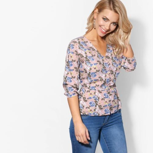 Womens Boho V Neck Button Shirt Top Floral Ladies Blouse Stretch Waist Smock