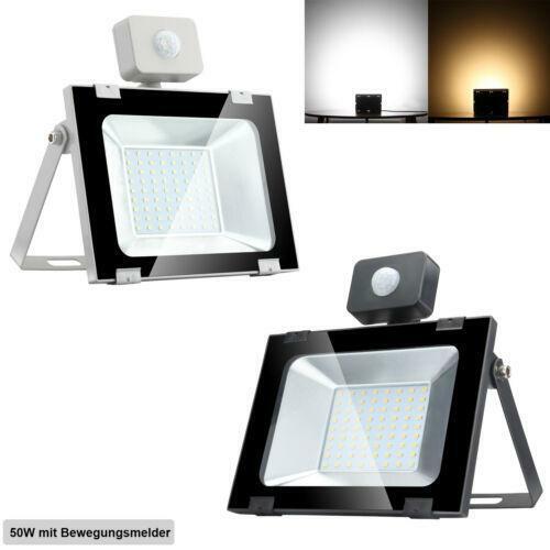 LED Fluter 20W 50W 100W 500W Außen Strahler Bewegungsmelder Lampe Ultradünn IP65