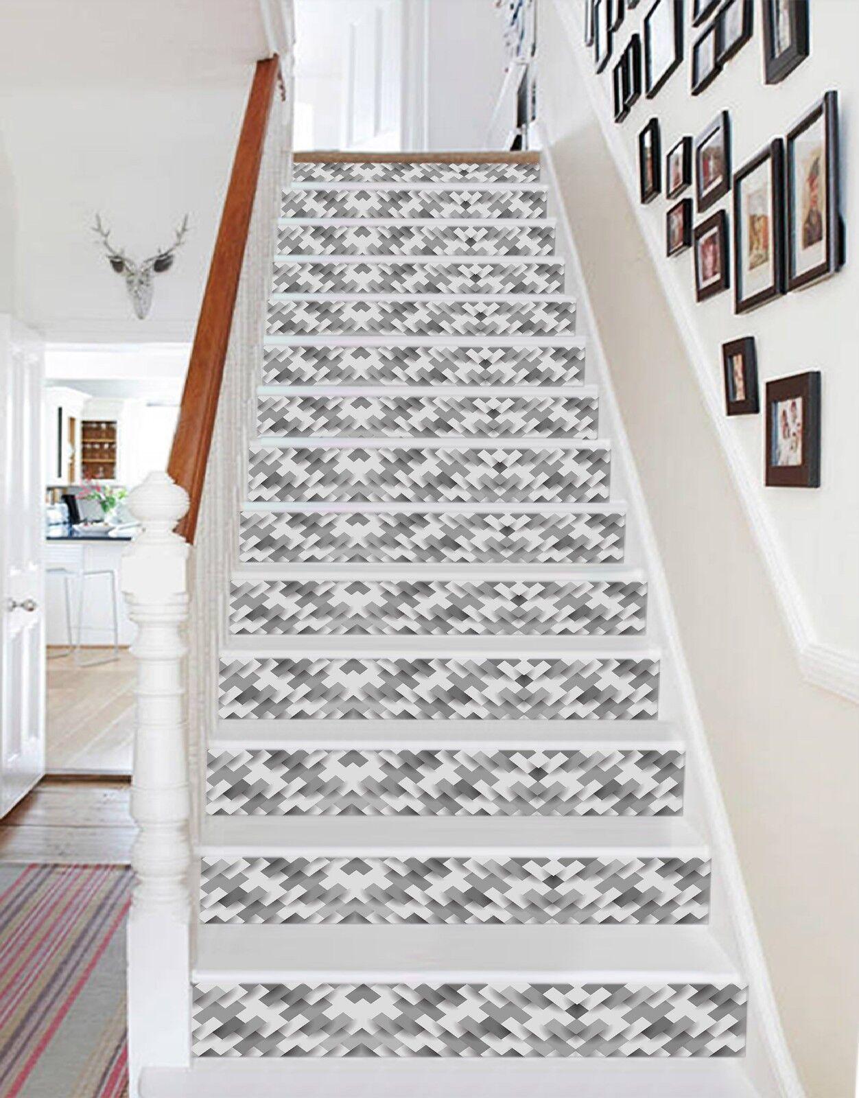 3D Fashion grau Weiß 1 Tile Marble Stair Riser Decoration Vinyl Wallpaper Mural