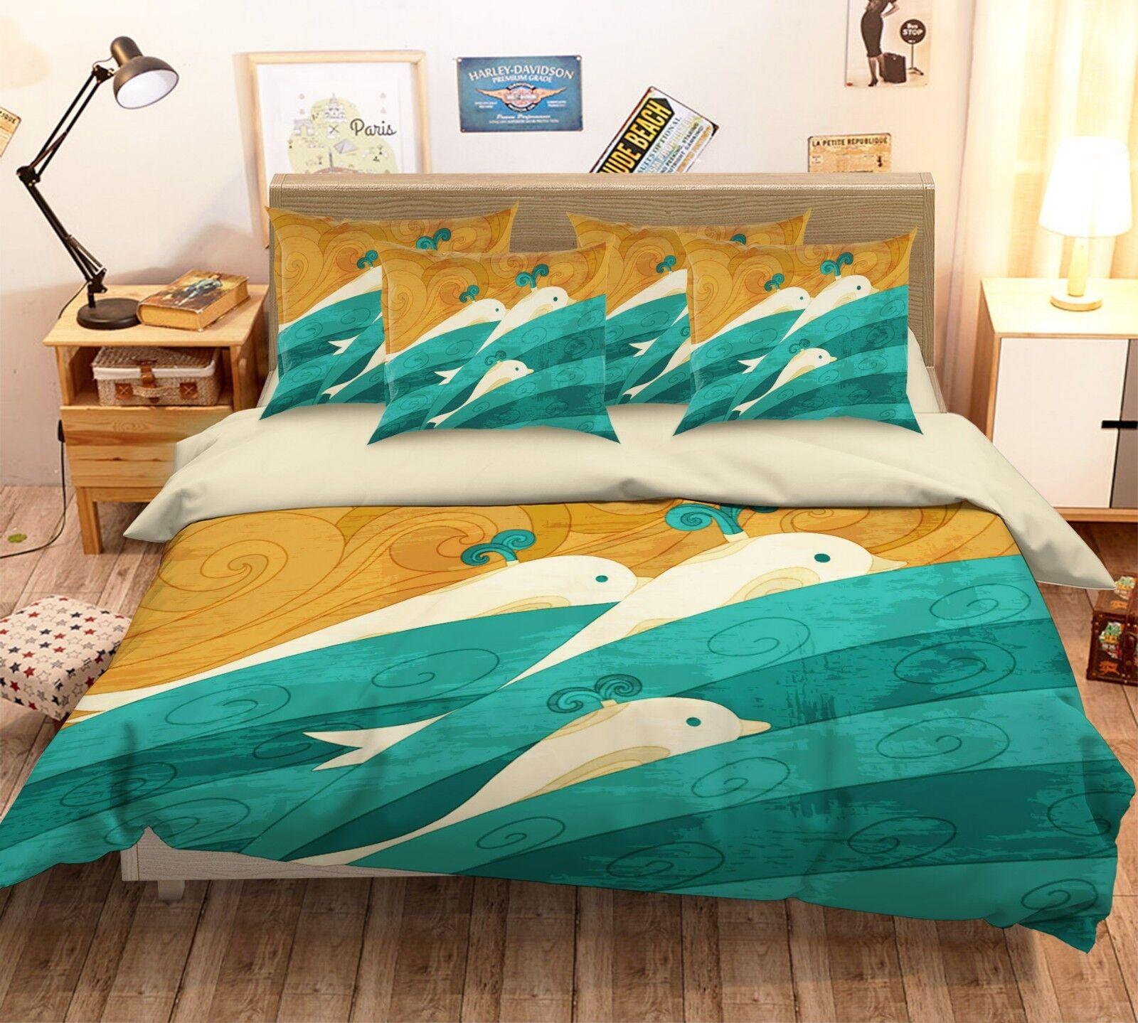 3D Whale blueeeeee Wave 26 Bed Pillowcases Quilt Duvet Single Queen King US Summer