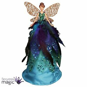 image is loading gisela graham 28cm peacock feather fairy angel christmas - Peacock Christmas Tree Topper