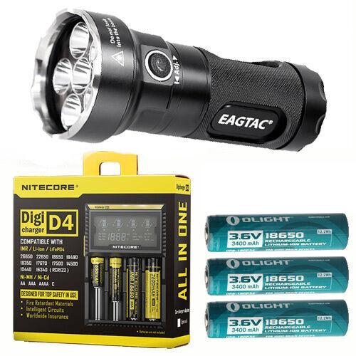 Eagletac mx25l3c Kit xp-g2 Linterna w 3x 3400mah Baterías & D4 Cargador