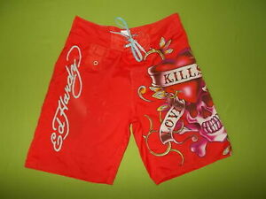 Shorts-ED-HARDY-M-33-Surf-or-Die-Men-039-s-SWIMWEAR-Shorts-PERFECT-RED-Skull