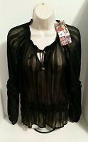 Spiegel Women's Black Sheer Pheasant Striped Blouse Size 12